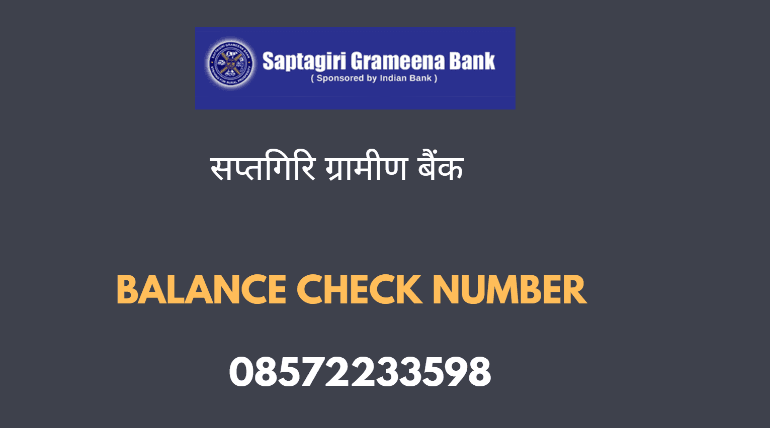 Saptagiri Grameena Bank balance Check Number