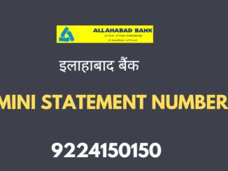 allahabad bank mini statement number