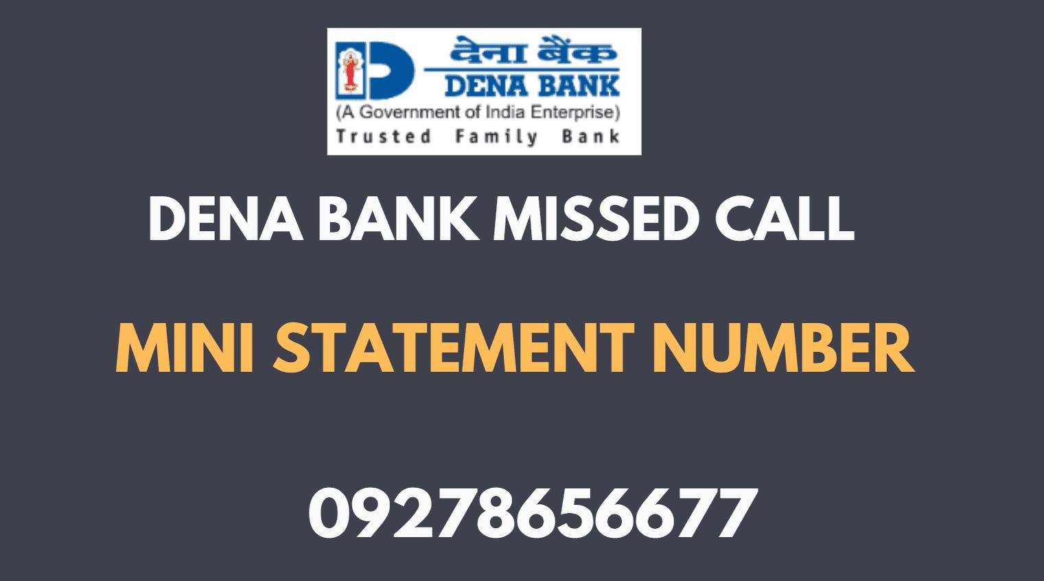 dena bank mini statement number